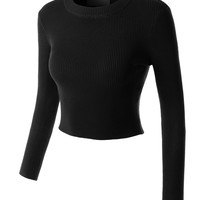 LE3NO Womens Fitted Long Sleeve Ribbed Knit Crop Top