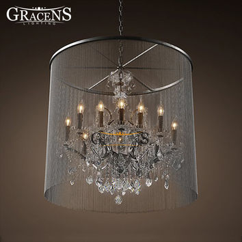 American Country Retro Vintage Chandelier Lightings Candelabra Style Fixture Lantern Lamp Hanging Light For Hotel