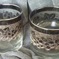 A Set of Two 1960's Silver Fade/Mercury Glass Rocks Cocktail Glasses