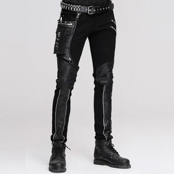 Devil Fashion Steampunk Men's Straight Pants with Hip Holster Pocket Casual Spliced Pants Gothic Punk Trousers