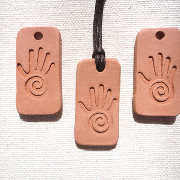 Reiki Hand, Healer's Hand Essential oil diffuser pendant, Aromatherapy Kiln Fired Clay Diffuser Pendants