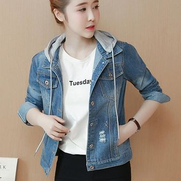 Trendy Women Basic Coats Hat Spring And Autumn Women Denim Jacket 2018 Vintage Long Sleeve Fit Female Jeans Coat Casual Girls Outwear AT_94_13