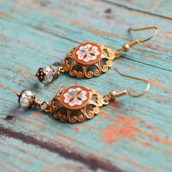 Hex Sign Earrings, Pennsylvania Dutch, German Hex Sign, Hex Sign Jewelry