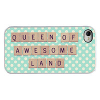 Quote Iphone case - Scrabble Iphone cover - Queen of awesome land - funny girly Iphone case for Iphone 4 and 4s - polka dots - girly