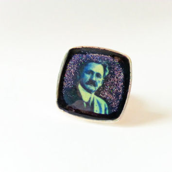 Einstein Ring, Albert Einstein Ring, Scientist Ring, Famous Scientist Ring, Scientist Jewelry, Albert Ring, Glitter Ring, Square Ring