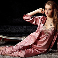 womens silk satin 3 piece pajama sets sleepwear big plus\n61 orders (Color: Pink)