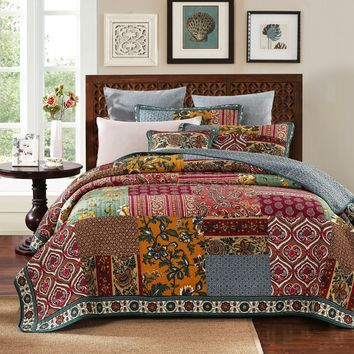DaDa Bedding Dark Elegance Cotton Real Patchwork Bohemian Quilt Bedspread Coverlet Set - Boho Bright Vibrant Colorful Burgundy Purple Floral Print - 2-3 Pieces (JHW-550)