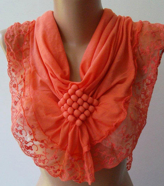Salmon Pink  / Elegance  Shawl / Scarf with Lacy Edge