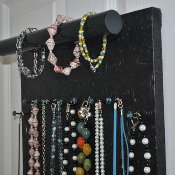 Jewelry Holder Black Embossed Vinyl Fabric Display for Necklaces - Organizer, Bracelets -Rings - Watches 13x18''
