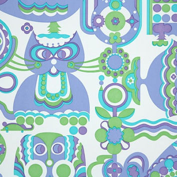 1970's Vintage Wallpaper Retro Cat, Fish, Flower and Bird in lavender green and aqua