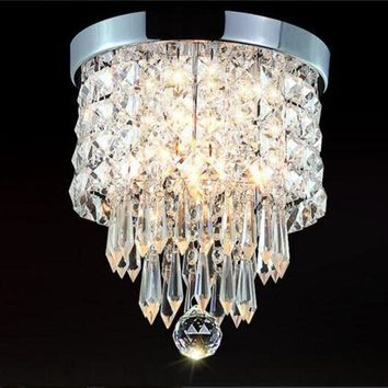 Elegant Chandelier Crystal Drop Light Clear Ceiling Fixture For Living Room Fashionable Pendant Lamp Home Decoration
