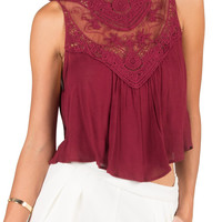 Crochet and Mesh Tank Top - Burgundy - Large