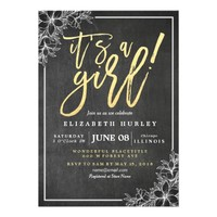 Chalkboard White Floral Gold Script Baby Shower Card