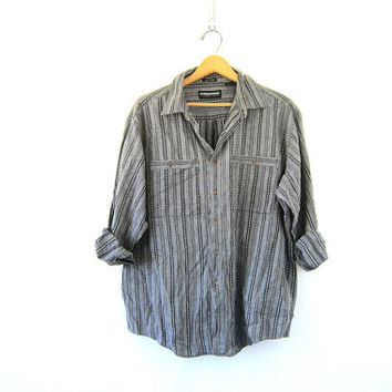 urban western shirt. black and black Embroidered button up shirt. veintage Geometric stitch print shirt. southwestern baja shirt.