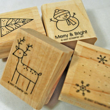 "Stampin' Up RUBBER STAMPS Christmas - ""Merry and Bright""  -  Never Used 2007 Retired Set for Scrapbooking. Cardmaking, Collage"