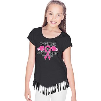 Girls Breast Cancer T-shirt Winning is Everything Fringe Tee