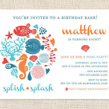 Under the Sea Birthday Party Invitations by jackandjanepaper