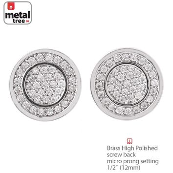 Jewelry Kay style Hip Hop Men's Brass Silver Plated Flat Round Screw Back Stud Earrings BE 027 S