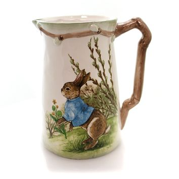 Tabletop COUNTRY SCENE RABBIT PITCHER Ceramic Bunny Easter Spring 9732639