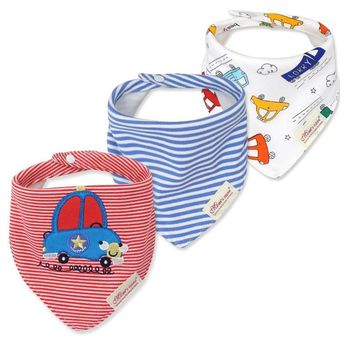 3pcs/lot Baby Bibs Bandana Lot 100% Cotton High Quality Babadores Para Bebe Infant Saliva Towel For Boys And Girls KF025-1