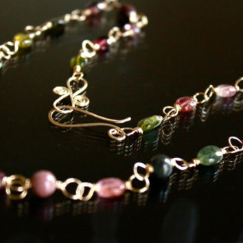 watermelon tourmaline necklace, gemstone necklace, october birth stone jewelry, pink tourmaline, wire wrapped gold necklace