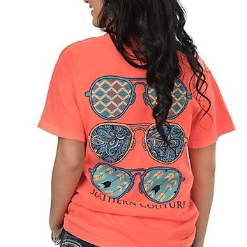 Southern Couture Women's Neon Orange with Aviators Screen Print Short Sleeve T-Shirt