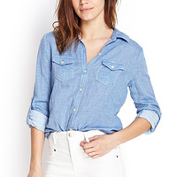 FOREVER 21 Soft Woven Button-Up Shirt Light Blue
