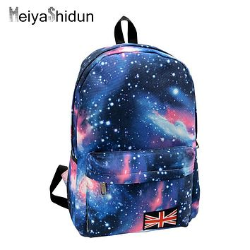 Women backpack school bag for teenage girls backpack Stars Universe Space Printing Canvas Female Backpacks for college students