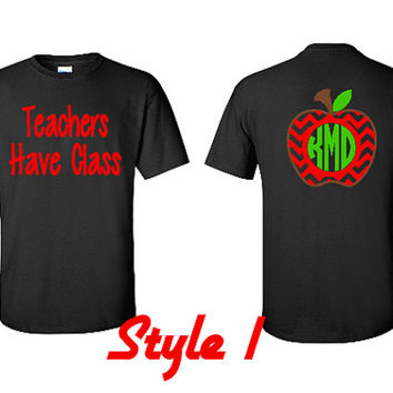 Chevron Monogram Apple Shirt, Teacher Gift, Teacher Monogram, Chevron Apple Monogram Tee
