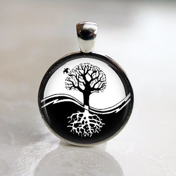 Ying Yang Tree Of Life Black and White resin necklace pendant. Necklace charm. Handmade jewelry. Handmade epoxy resin jewellery.
