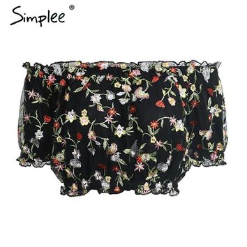 Simplee Off shoulder floral lace blouse shirt Sexy lining mesh crop top women blouses summer beach embroidery blusas 2017 new