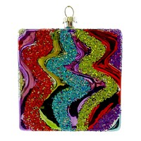 Holiday Ornament Ziz Zag Square Glass Ornament