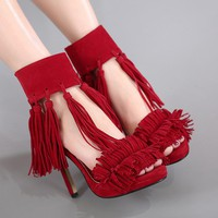 Tassels Ankle Wrap Stiletto High Heels Open Toe Sandals