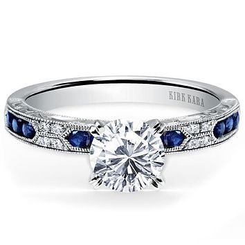 "Kirk Kara ""Charlotte"" Blue Sapphire Diamond Engagement Ring"