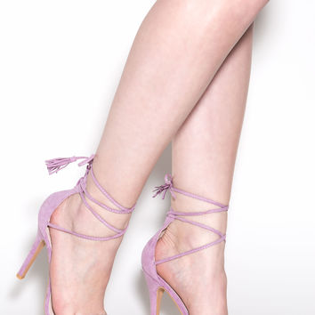 Totally Tied Up Faux Suede Heels