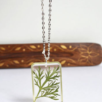 Real Plant Necklace, Pressed Botanical in Resin Necklace, Pressed Flower Jewelry, Hippie Earthy Necklace, Woodland Real Plant Jewelry