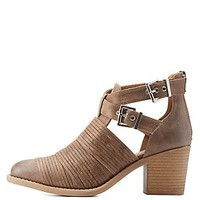 QUPID STACKED-STRAP BELTED ANKLE BOOTIES