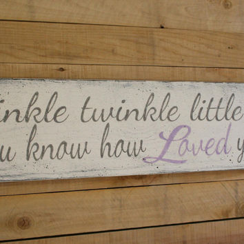 Twinkle Twinkle Little Star Do You Know How Loved You Are Nursery Sign Vintage Wood Nursery  Girls Nursery Decor Lavender and Gray Nursery