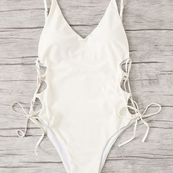Plunging Lace-up Side One Piece Swimwear