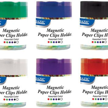 BAZIC Magnetic Paper Clips Holder w/ 50 Ct. Small Color Paper Clip Case Pack 24