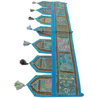 Blue Indian Tribal Bohemian Window Patchwork Valance on RoyalFurnish.com