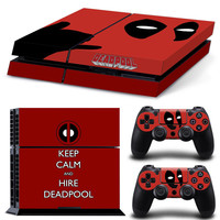 Deadpool  Vinyl Decal Skin For playstation 4 Console +2Pcs Stickers For ps4 Controllers