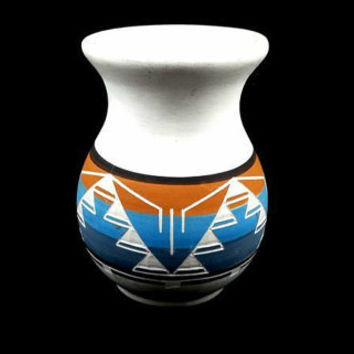 Vase Vintage Porcelain Antique Ceramic Pottery Painted Blue Orange Black Glaze