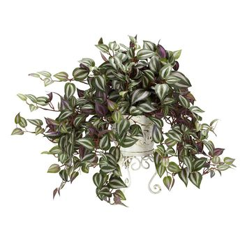 Silk Flowers -Wandering Jew With Metal Planter Artificial Plant