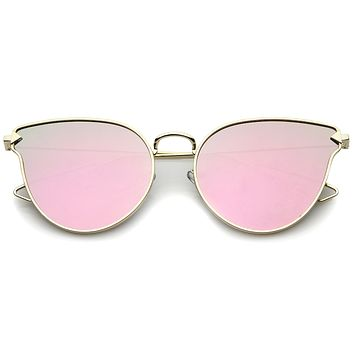 Women's Flat Lens Arrow Temple Cat Eye Sunglasses A804