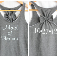 Maid of Honor Bow Tank top with Wedding Date