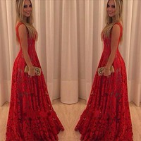 Womens Stylish Long Lace Backless Party Dress