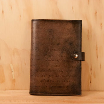 Leather Journal - Personalized Smokey pattern in antique black