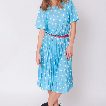 1970's Blue Dress - Vintage 70s White Polka Dot Print Babydoll Sundress Pleated Secretary Mad Men Circle Skirt Shirtdress Mid Gown Size M L