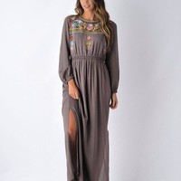 Mayan Embroidered Charcoal Maxi Dress